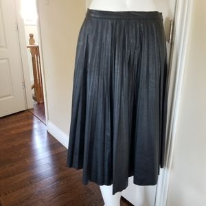 Leather look pleated skirt